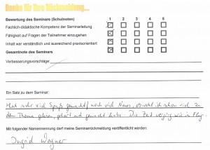 Bewertung Ingrid Wagner